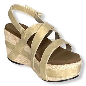 Boutique by Corkys Gold Platform Wedge Sandals